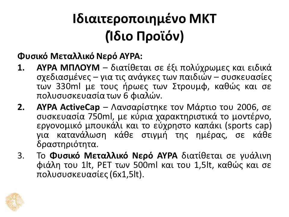 Ιδιαιτεροποιημένο ΜΚΤ (Ίδιο Προϊόν) Φυσικό Μεταλλικό Νερό ΑΥΡΑ: 1.ΑΥΡΑ ΜΠΛΟΥΜ – διατίθεται σε έξι πολύχρωμες και ειδικά σχεδιασμένες – για τις ανάγκες των παιδιών – συσκευασίες των 330ml με τους ήρωες των Στρουμφ, καθώς και σε πολυσυσκευασία των 6 φιαλών.