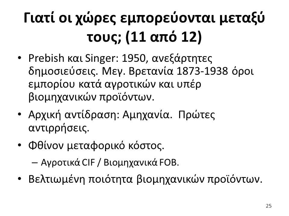 Γιατί οι χώρες εμπορεύονται μεταξύ τους; (11 από 12) Prebish και Singer: 1950, ανεξάρτητες δημοσιεύσεις.