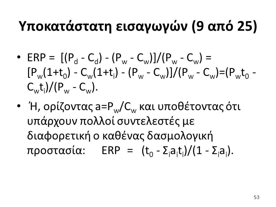 Υποκατάστατη εισαγωγών (9 από 25) ERP = [(P d - C d ) - (P w - C w )]/(P w - C w ) = [P w (1+t 0 ) - C w (1+t i ) - (P w - C w )]/(P w - C w )=(P w t 0 - C w t i )/(P w - C w ).