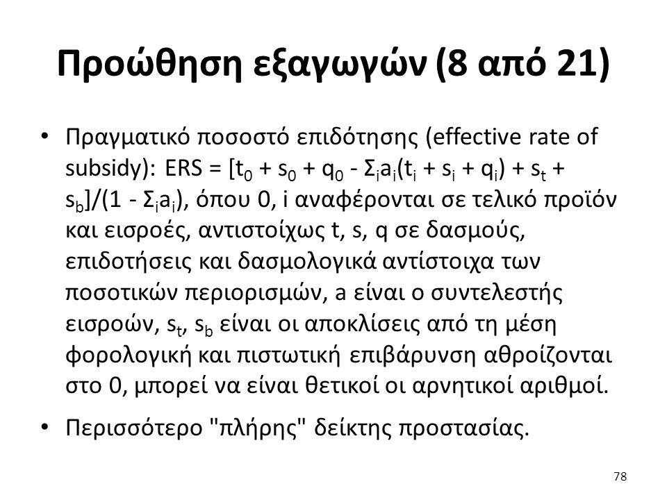 Προώθηση εξαγωγών (8 από 21) Πραγματικό ποσοστό επιδότησης (effective rate of subsidy): ERS = [t 0 + s 0 + q 0 - Σ i a i (t i + s i + q i ) + s t + s b ]/(1 - Σ i a i ), όπου 0, i αναφέρονται σε τελικό προϊόν και εισροές, αντιστοίχως t, s, q σε δασμούς, επιδοτήσεις και δασμολογικά αντίστοιχα των ποσοτικών περιορισμών, a είναι ο συντελεστής εισροών, s t, s b είναι οι αποκλίσεις από τη μέση φορολογική και πιστωτική επιβάρυνση αθροίζονται στο 0, μπορεί να είναι θετικοί οι αρνητικοί αριθμοί.