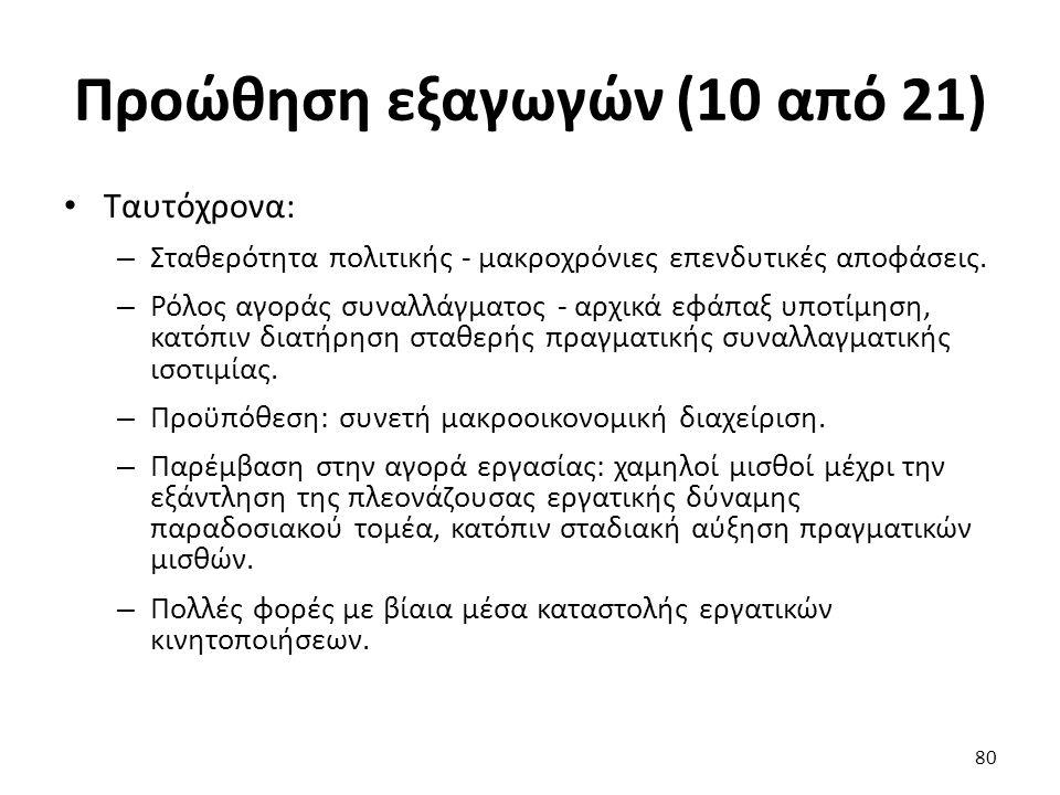 Προώθηση εξαγωγών (10 από 21) Ταυτόχρονα: – Σταθερότητα πολιτικής - μακροχρόνιες επενδυτικές αποφάσεις.