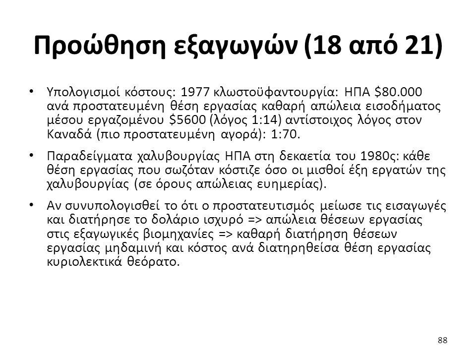 Προώθηση εξαγωγών (18 από 21) Υπολογισμοί κόστους: 1977 κλωστοϋφαντουργία: ΗΠΑ $80.000 ανά προστατευμένη θέση εργασίας καθαρή απώλεια εισοδήματος μέσου εργαζομένου $5600 (λόγος 1:14) αντίστοιχος λόγος στον Καναδά (πιο προστατευμένη αγορά): 1:70.