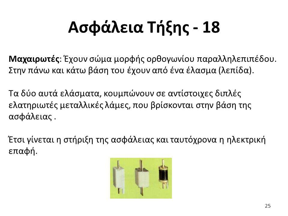 Ασφάλεια Τήξης - 18 Μαχαιρωτές: Έχουν σώμα μορφής ορθογωνίου παραλληλεπιπέδου. Στην πάνω και κάτω βάση του έχουν από ένα έλασμα (λεπίδα). Τα δύο αυτά