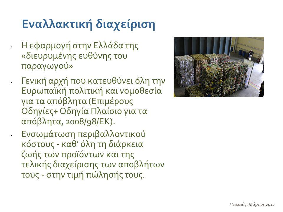 Εναλλακτική διαχείριση Πειραιάς, Μάρτιος 2012 Η εφαρμογή στην Ελλάδα της «διευρυμένης ευθύνης του παραγωγού» Γενική αρχή που κατευθύνει όλη την Ευρωπαϊκή πολιτική και νομοθεσία για τα απόβλητα (Επιμέρους Οδηγίες+ Οδηγία Πλαίσιο για τα απόβλητα, 2008/98/ΕΚ).