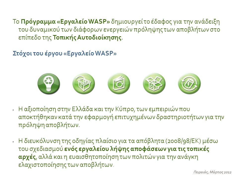 Το Πρόγραμμα «Εργαλείο WASP» δημιουργεί το έδαφος για την ανάδειξη του δυναμικού των διάφορων ενεργειών πρόληψης των αποβλήτων στο επίπεδο της Τοπικής Αυτοδιοίκησης.