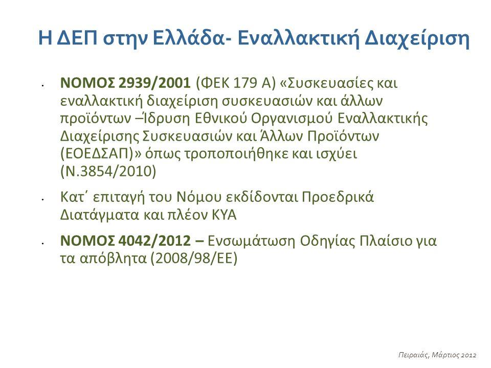 Η ΔΕΠ στην Ελλάδα- Εναλλακτική Διαχείριση Πειραιάς, Μάρτιος 2012 ΝΟΜΟΣ 2939/2001 (ΦΕΚ 179 Α) «Συσκευασίες και εναλλακτική διαχείριση συσκευασιών και άλλων προϊόντων –Ίδρυση Εθνικού Οργανισμού Εναλλακτικής Διαχείρισης Συσκευασιών και Άλλων Προϊόντων (ΕΟΕΔΣΑΠ)» όπως τροποποιήθηκε και ισχύει (Ν.3854/2010) Κατ΄ επιταγή του Νόμου εκδίδονται Προεδρικά Διατάγματα και πλέον ΚΥΑ ΝΟΜΟΣ 4042/2012 – Ενσωμάτωση Οδηγίας Πλαίσιο για τα απόβλητα (2008/98/ΕΕ)