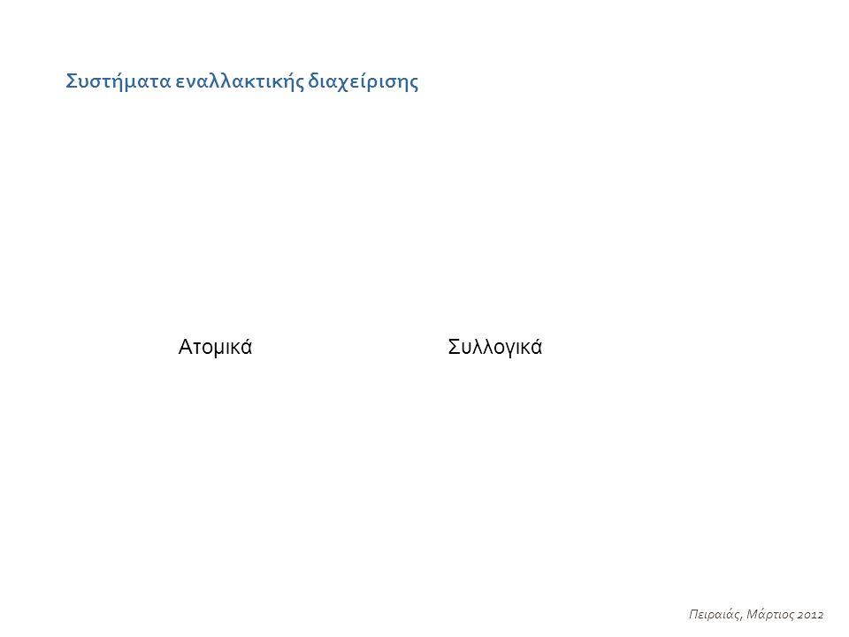 Συστήματα εναλλακτικής διαχείρισης Πειραιάς, Μάρτιος 2012 ΣυλλογικάΑτομικά