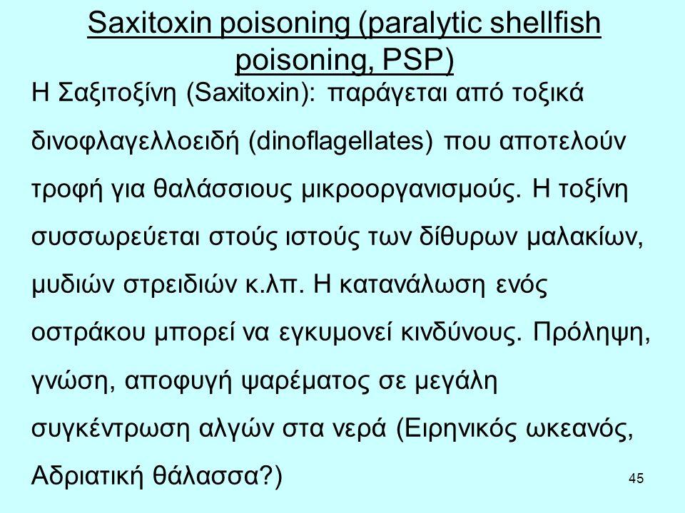 45 Η Σαξιτοξίνη (Saxitoxin): παράγεται από τοξικά δινοφλαγελλοειδή (dinoflagellates) που αποτελούν τροφή για θαλάσσιους μικροοργανισμούς.