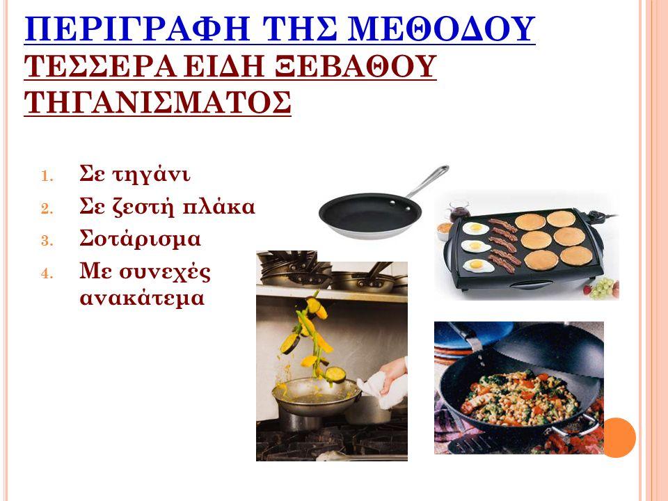 ΣΕ ΤΗΓΑΝΙ Το φαγητό ψήνεται σε λίγο ζεστό λάδι η λίπος σε κατσαρόλα με παχιά τοιχώματα.