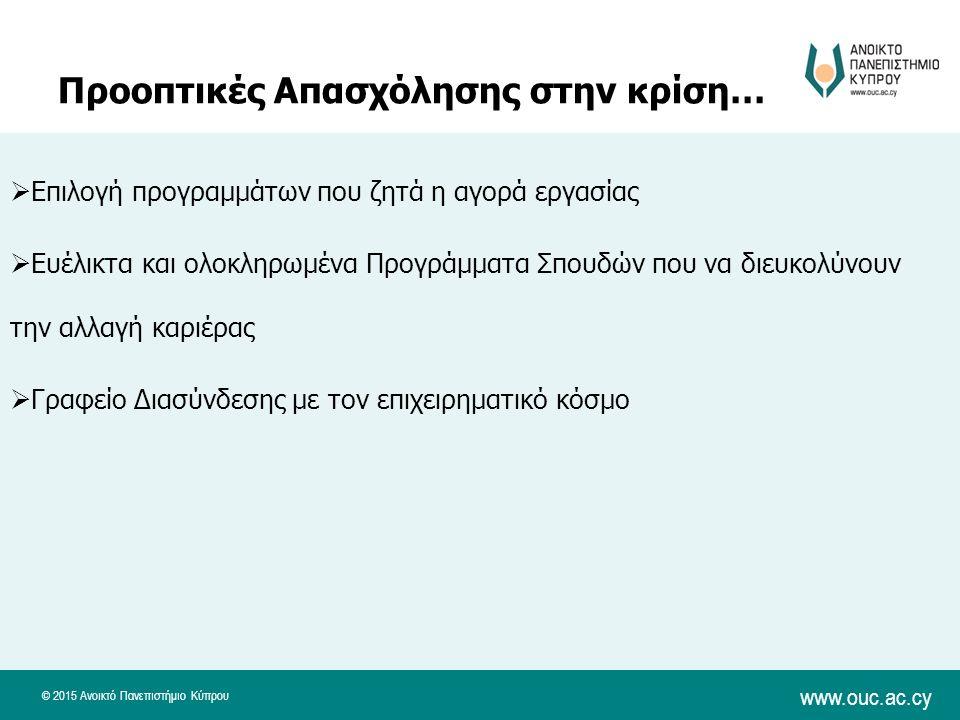 © 2015 Ανοικτό Πανεπιστήμιο Κύπρου www.ouc.ac.cy Προοπτικές Απασχόλησης στην κρίση…  Επιλογή προγραμμάτων που ζητά η αγορά εργασίας  Ευέλικτα και ολοκληρωμένα Προγράμματα Σπουδών που να διευκολύνουν την αλλαγή καριέρας  Γραφείο Διασύνδεσης με τον επιχειρηματικό κόσμο