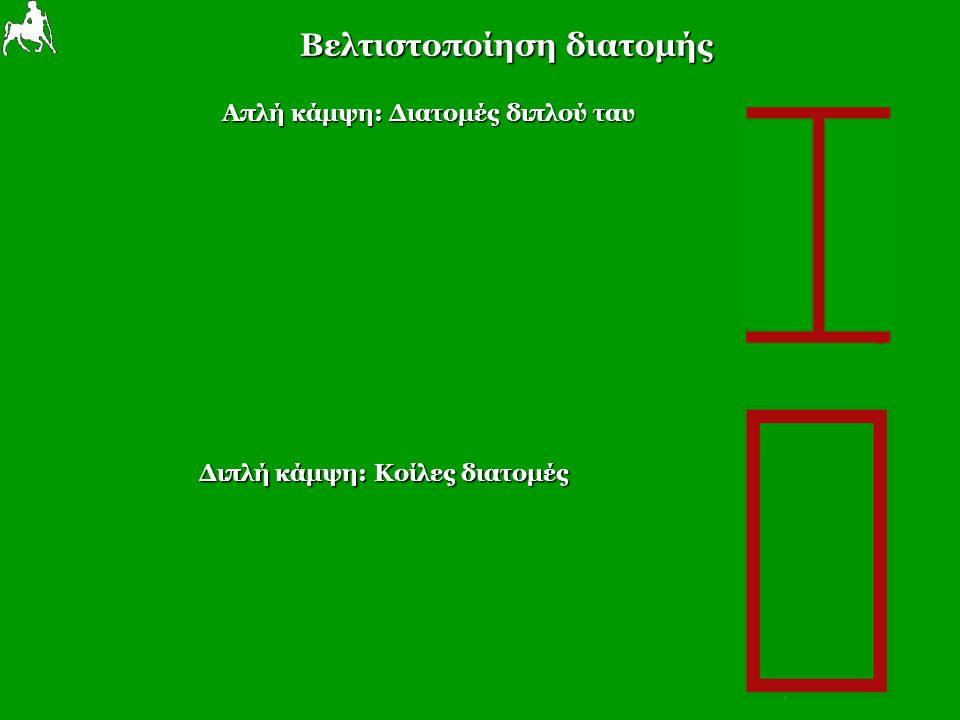 Βελτιστοποίηση διατομής Απλή κάμψη: Διατομές διπλού ταυ Διπλή κάμψη: Κοίλες διατομές