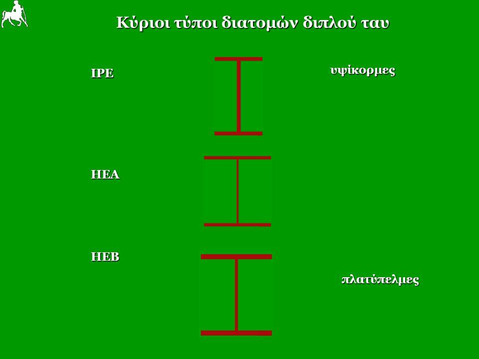 Κύριοι τύποι διατομών διπλού ταυ IPE υψίκορμες HEA HEB πλατύπελμες