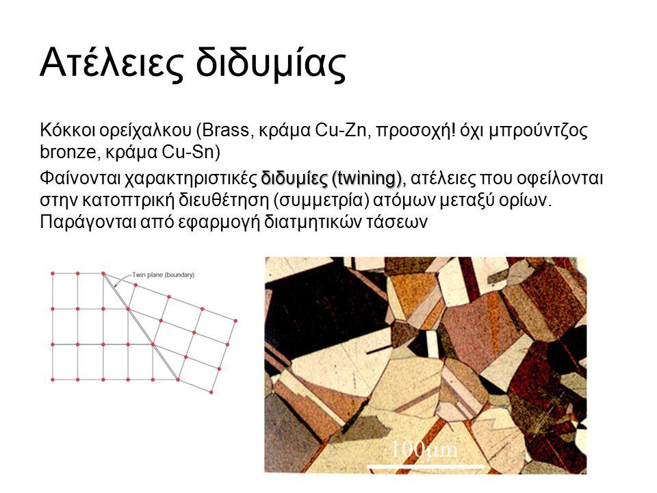 Ατέλειες διδυμίας Κόκκοι ορείχαλκου (Brass, κράμα Cu-Zn, προσοχή.