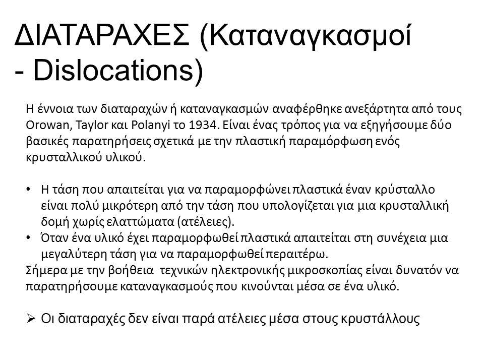 Η έννοια των διαταραχών ή καταναγκασμών αναφέρθηκε ανεξάρτητα από τους Orowan, Taylor και Polanyi το 1934.