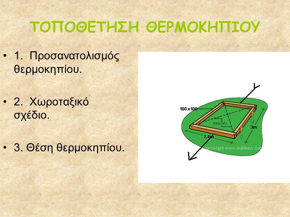 ΤΟΠΟΘΕΤΗΣΗ ΘΕΡΜΟΚΗΠΙΟΥ 1. Προσανατολισμός θερμοκηπίου. 2. Χωροταξικό σχέδιο. 3. Θέση θερμοκηπίου.