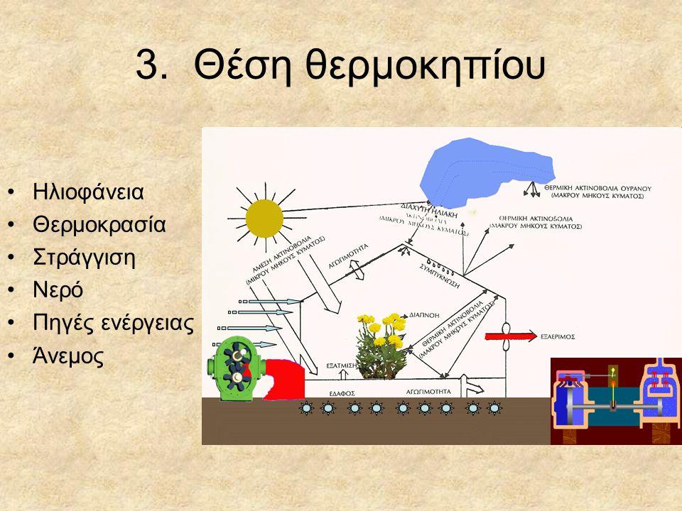 3. Θέση θερμοκηπίου Ηλιοφάνεια Θερμοκρασία Στράγγιση Νερό Πηγές ενέργειας Άνεμος