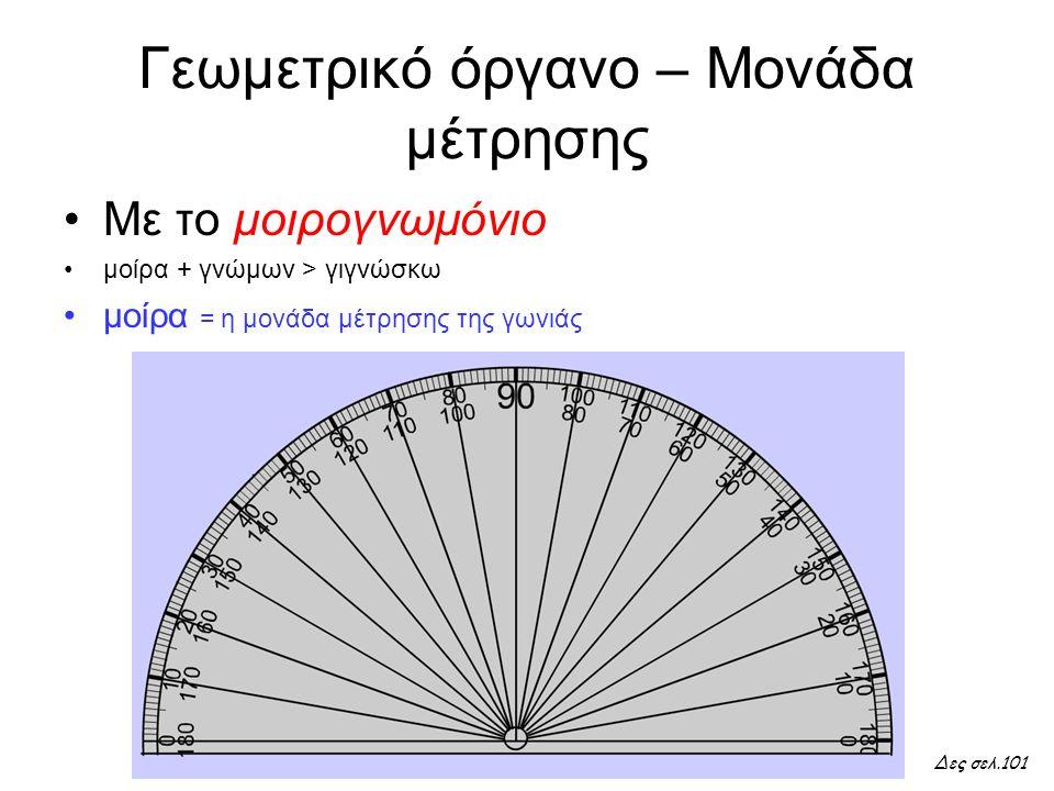 Τι θα μάθουμε σήμερα Πώς χρησιμοποιούμε σωστά το μοιρογνωμόνιό μας για να μετρήσουμε μια γωνιά; Από τι εξαρτάται το μέγεθος μιας γωνιάς; Επαγγέλματα που έχουν σχέση με τη μέτρηση γωνιών