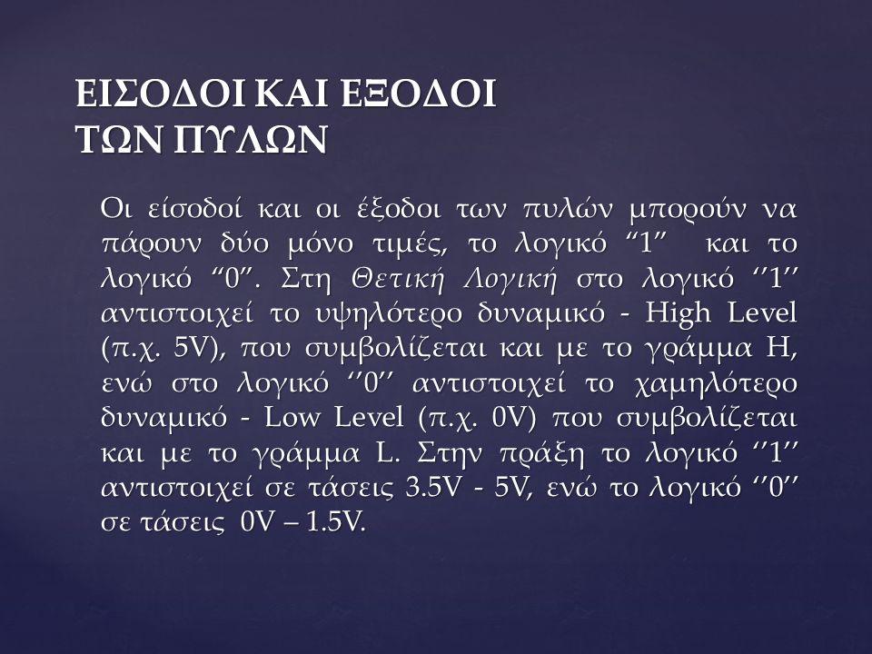 ΕΙΣΟΔΟΙ ΚΑΙ ΕΞΟΔΟΙ ΤΩΝ ΠΥΛΩΝ Οι είσοδοί και οι έξοδοι των πυλών μπορούν να πάρουν δύο μόνο τιμές, το λογικό 1 και το λογικό 0 .