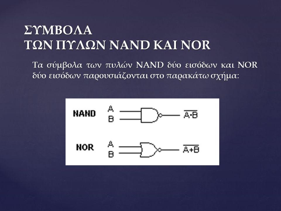 ΠΙΝΑΚΕΣ ΑΛΗΘΕΙΑΣ ΤΩΝ ΠΥΛΩΝ NAND ΚΑΙ NOR  Η λογική πύλη NAND είναι μία πύλη AND που ακολουθείται από μία πύλη NOT.