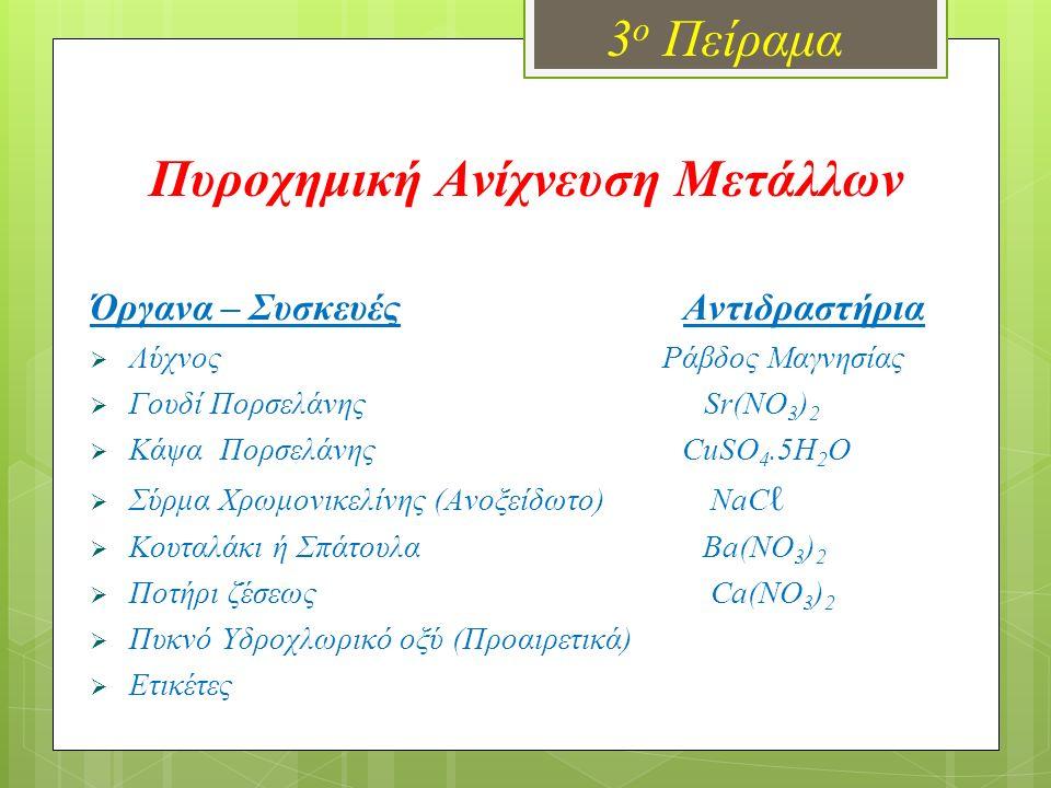 Πυροχημική Ανίχνευση Μετάλλων 3 ο Πείραμα Όργανα – Συσκευές Αντιδραστήρια  Λύχνος Ράβδος Μαγνησίας  Γουδί Πορσελάνης Sr(NO 3 ) 2  Κάψα Πορσελάνης C
