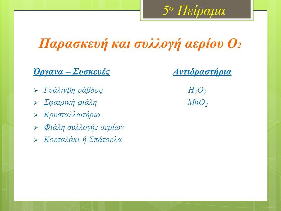 5 ο Πείραμα Παρασκευή και συλλογή αερίου O 2 Όργανα – Συσκευές Αντιδραστήρια  Γυάλινβη ράβδος H 2 O 2  Σφαιρική φιάλη MnO 2  Κρυσταλλωτήριο  Φιάλη