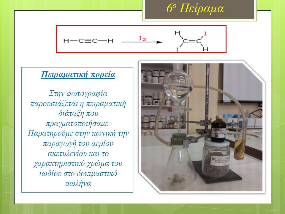 6 ο Πείραμα Πειραματική πορεία Στην φωτογραφία παρουσιάζεται η πειραματική διάταξη που πραγματοποιήσαμε. Παρατηρούμε στην κωνική την παραγωγή του αερί