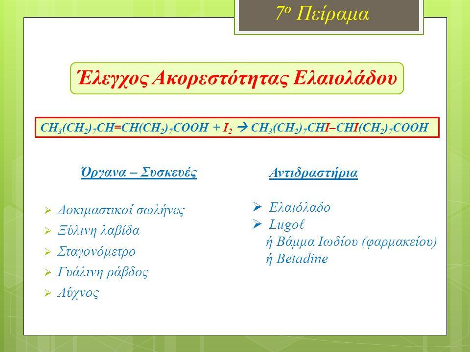 Έλεγχος Ακορεστότητας Ελαιολάδου 7 ο Πείραμα Όργανα – Συσκευές  Δοκιμαστικοί σωλήνες  Ξύλινη λαβίδα  Σταγονόμετρο  Γυάλινη ράβδος  Λύχνος Αντιδραστήρια  Ελαιόλαδο  Lugoℓ ή Βάμμα Ιωδίου (φαρμακείου) ή Betadine CH 3 (CH 2 ) 7 CH=CH(CH 2 ) 7 COOH + I 2  CH 3 (CH 2 ) 7 CHΙ–CHΙ(CH 2 ) 7 COOH