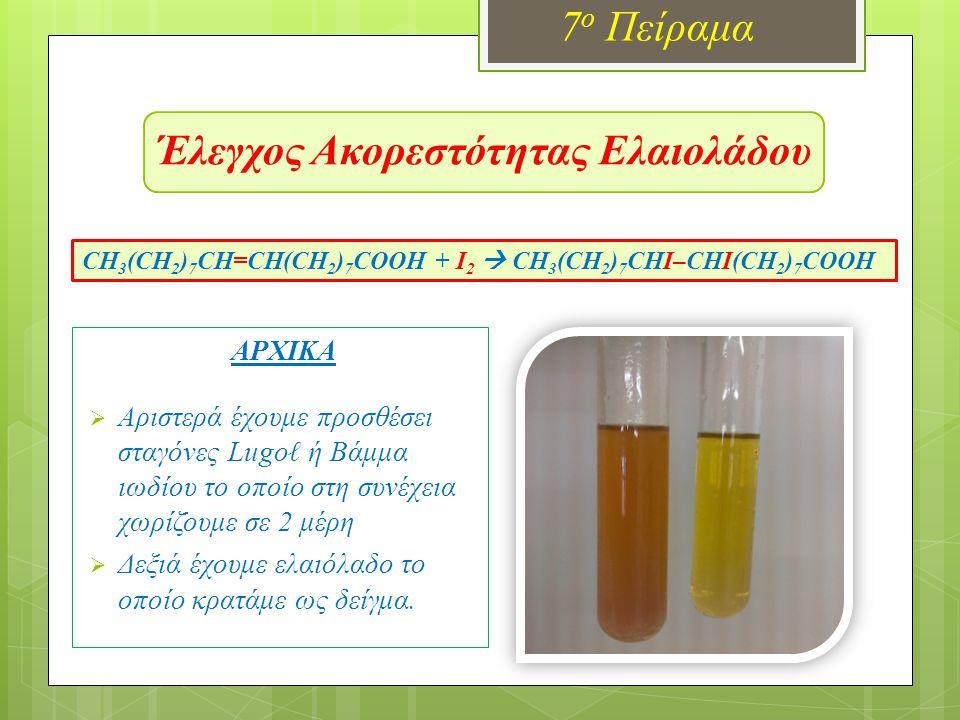 Έλεγχος Ακορεστότητας Ελαιολάδου 7 ο Πείραμα ΑΡΧΙΚΑ  Αριστερά έχουμε προσθέσει σταγόνες Lugoℓ ή Βάμμα ιωδίου το οποίο στη συνέχεια χωρίζουμε σε 2 μέρη  Δεξιά έχουμε ελαιόλαδο το οποίο κρατάμε ως δείγμα.