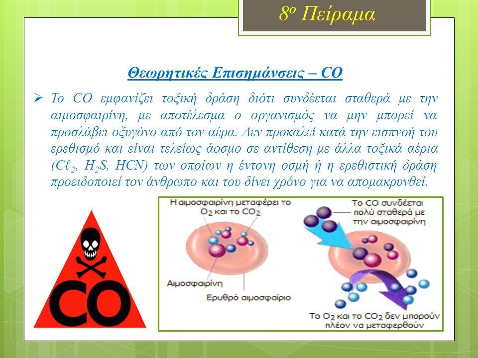 8 ο Πείραμα Θεωρητικές Επισημάνσεις – CO  To CO εμφανίζει τοξική δράση διότι συνδέεται σταθερά με την αιμοσφαιρίνη, με αποτέλεσμα ο οργανισμός να μην μπορεί να προσλάβει οξυγόνο από τον αέρα.
