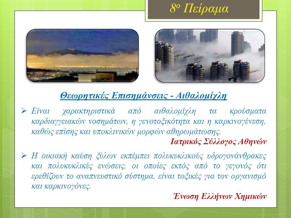8 ο Πείραμα Θεωρητικές Επισημάνσεις - Αιθαλομίχλη  Είναι χαρακτηριστικά από αιθαλομίχλη τα κρούσματα καρδιαγγειακών νοσημάτων, η γενοτοξικότητα και η καρκινογένεση, καθώς επίσης και υποκλινικών μορφών αθηρωμάτωσης.