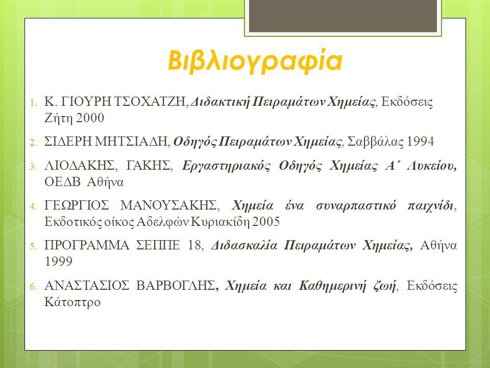 Βιβλιογραφία 1. Κ. ΓΙΟΥΡΗ ΤΣΟΧΑΤΖΗ, Διδακτική Πειραμάτων Χημείας, Εκδόσεις Ζήτη 2000 2. ΣΙΔΕΡΗ ΜΗΤΣΙΑΔΗ, Οδηγός Πειραμάτων Χημείας, Σαββάλας 1994 3. Λ