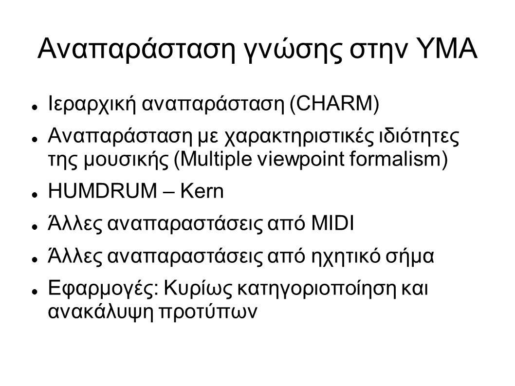 Αναπαράσταση γνώσης στην ΥΜΑ Ιεραρχική αναπαράσταση (CHARM) Αναπαράσταση με χαρακτηριστικές ιδιότητες της μουσικής (Multiple viewpoint formalism) HUMDRUM – Kern Άλλες αναπαραστάσεις από MIDI Άλλες αναπαραστάσεις από ηχητικό σήμα Εφαρμογές: Κυρίως κατηγοριοποίηση και ανακάλυψη προτύπων