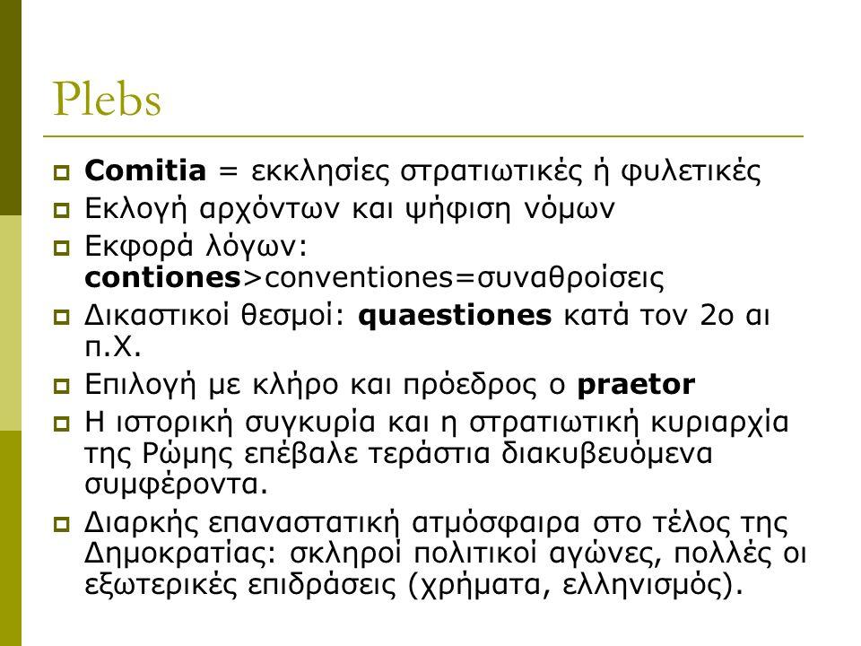 Plebs  Comitia = εκκλησίες στρατιωτικές ή φυλετικές  Εκλογή αρχόντων και ψήφιση νόμων  Εκφορά λόγων: contiones>conventiones=συναθροίσεις  Δικαστικοί θεσμοί: quaestiones κατά τον 2ο αι π.Χ.