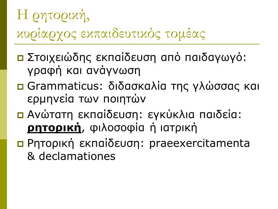 Η ρητορική, κυρίαρχος εκπαιδευτικός τομέας  Στοιχειώδης εκπαίδευση από παιδαγωγό: γραφή και ανάγνωση  Grammaticus: διδασκαλία της γλώσσας και ερμηνεία των ποιητών  Ανώτατη εκπαίδευση: εγκύκλια παιδεία: ρητορική, φιλοσοφία ή ιατρική  Ρητορική εκπαίδευση: praeexercitamenta & declamationes