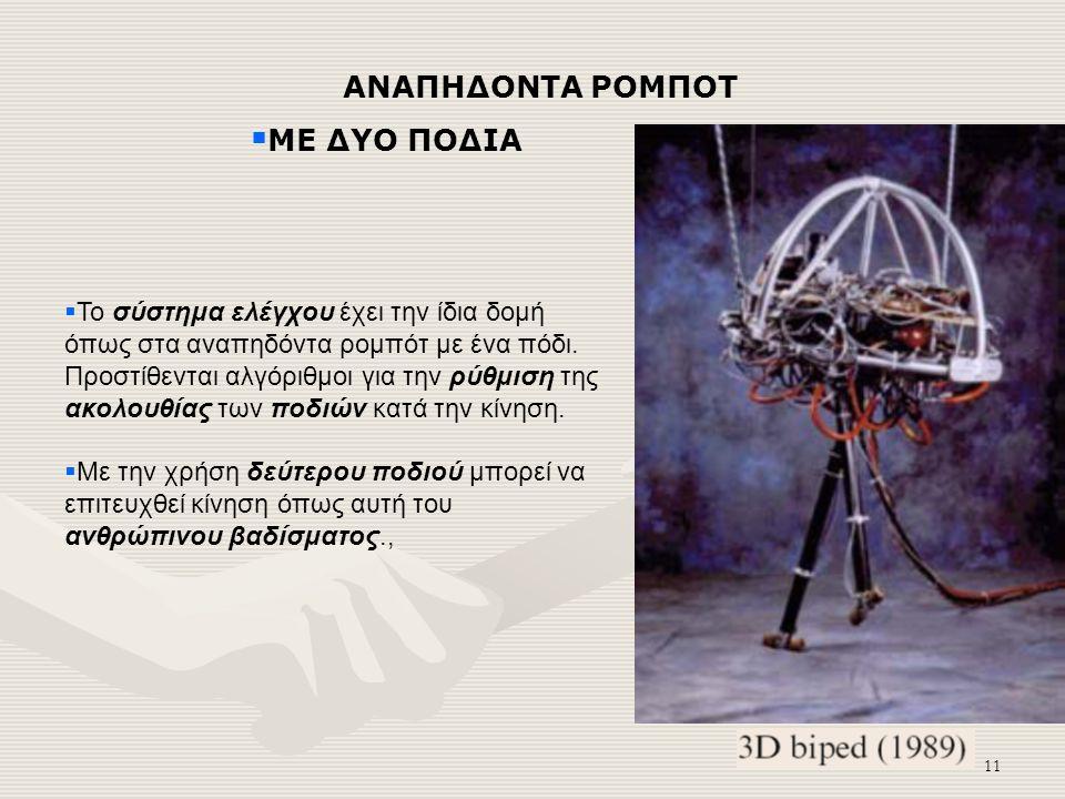 11 ΑΝΑΠΗΔΟΝΤΑ ΡΟΜΠΟΤ  ΜΕ ΔΥΟ ΠΟΔΙΑ  Το σύστημα ελέγχου έχει την ίδια δομή όπως στα αναπηδόντα ρομπότ με ένα πόδι.