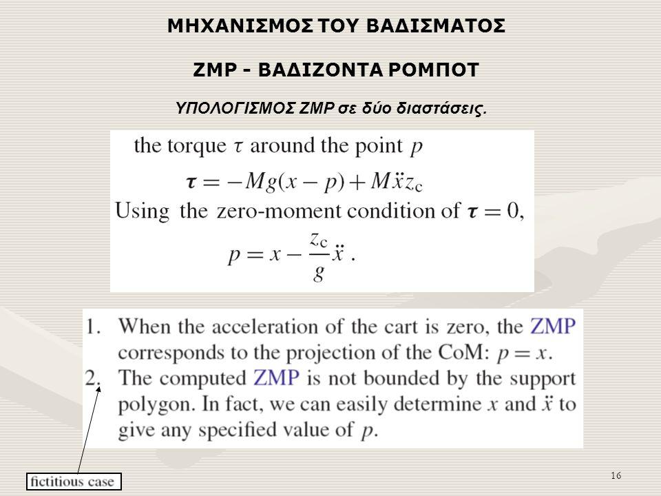 16 ZMP - ΒΑΔΙΖΟΝΤΑ ΡΟΜΠΟΤ ΥΠΟΛΟΓΙΣΜΟΣ ZMP σε δύο διαστάσεις. ΜΗΧΑΝΙΣΜΟΣ ΤΟΥ ΒΑΔΙΣΜΑΤΟΣ