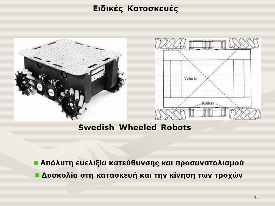 45 Απόλυτη ευελιξία κατεύθυνσης και προσανατολισμού Δυσκολία στη κατασκευή και την κίνηση των τροχών Swedish Wheeled Robots Ειδικές Κατασκευές