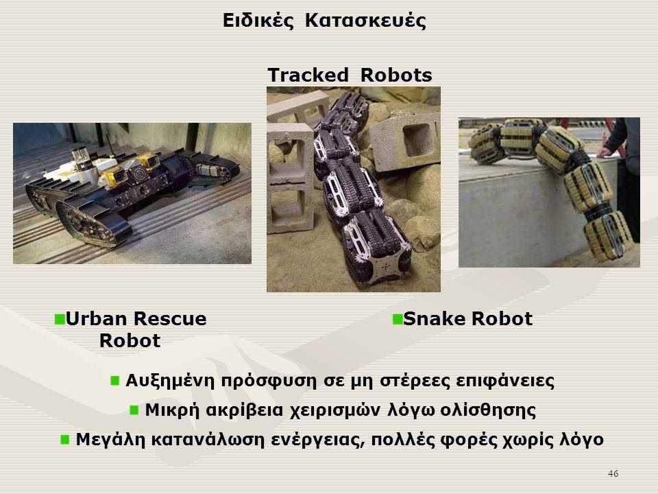 46 Αυξημένη πρόσφυση σε μη στέρεες επιφάνειες Μικρή ακρίβεια χειρισμών λόγω ολίσθησης Μεγάλη κατανάλωση ενέργειας, πολλές φορές χωρίς λόγο Tracked Robots Snake RobotUrban Rescue Robot Ειδικές Κατασκευές