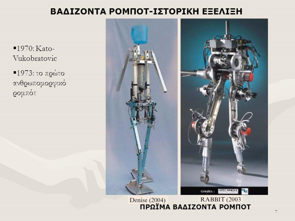 7 ΒΑΔΙΖΟΝΤΑ ΡΟΜΠΟΤ-ΙΣΤΟΡΙΚΗ ΕΞΕΛΙΞΗ ΠΡΩΪΜΑ ΒΑΔΙΖΟΝΤΑ ΡΟΜΠΟΤ  1970: Kato- Vukobratovic  1973: το πρώτο ανθρωπομορφικό ρομπότ