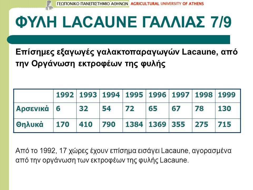 ΦΥΛΗ LACAUNE ΓΑΛΛΙΑΣ 7/9 Επίσημες εξαγωγές γαλακτοπαραγωγών Lacaune, από την Οργάνωση εκτροφέων της φυλής 19921993199419951996199719981999 Αρσενικά632