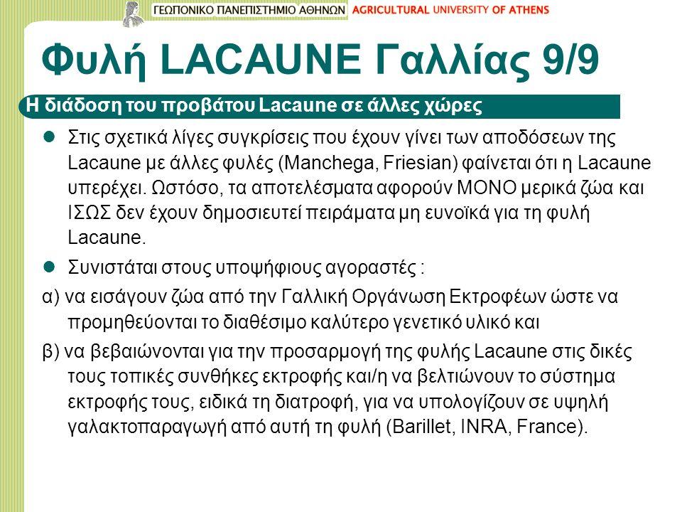 Φυλή LACAUNE Γαλλίας 9/9 Στις σχετικά λίγες συγκρίσεις που έχουν γίνει των αποδόσεων της Lacaune με άλλες φυλές (Manchega, Friesian) φαίνεται ότι η La