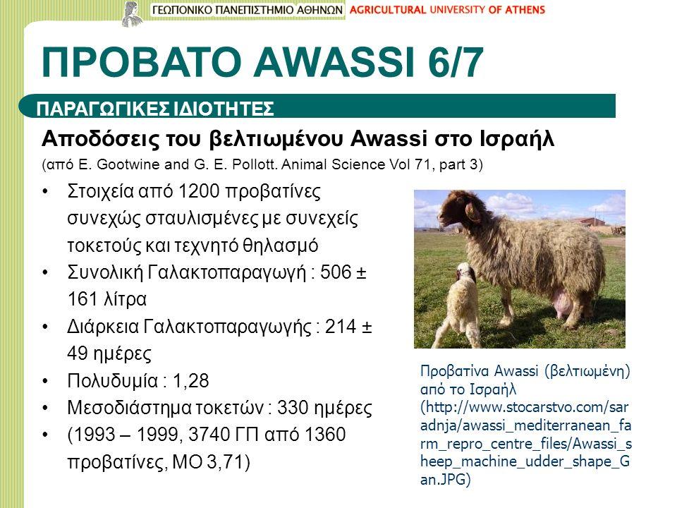 ΠΡΟΒΑΤΟ ΑWASSI 6/7 Αποδόσεις του βελτιωμένου Awassi στο Ισραήλ (από E. Gootwine and G. E. Pollott. Animal Science Vol 71, part 3) Στοιχεία από 1200 πρ
