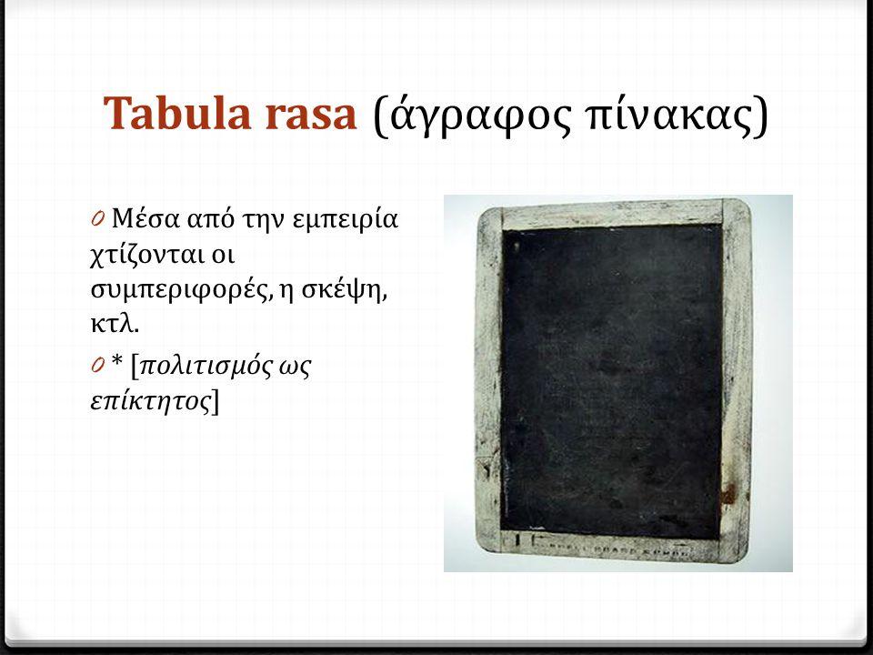 Tabula rasa (άγραφος πίνακας) 0 Μέσα από την εμπειρία χτίζονται οι συμπεριφορές, η σκέψη, κτλ.