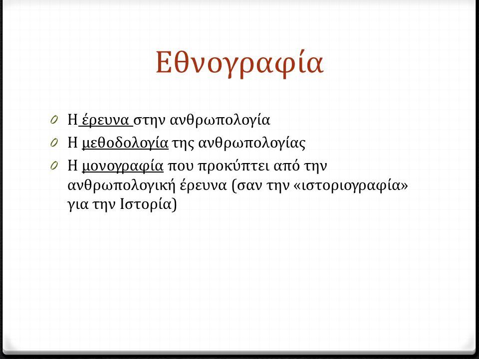 Εθνογραφία 0 Η έρευνα στην ανθρωπολογία 0 Η μεθοδολογία της ανθρωπολογίας 0 Η μονογραφία που προκύπτει από την ανθρωπολογική έρευνα (σαν την «ιστοριογραφία» για την Ιστορία)