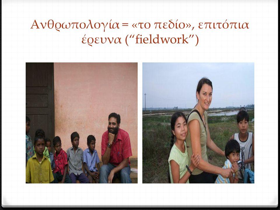 Ανθρωπολογία = «το πεδίο», επιτόπια έρευνα ( fieldwork )