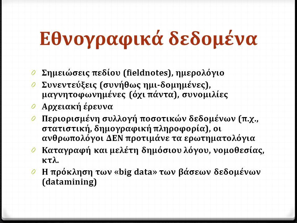 Εθνογραφικά δεδομένα 0 Σημειώσεις πεδίου (fieldnotes), ημερολόγιο 0 Συνεντεύξεις (συνήθως ημι-δομημένες), μαγνητοφωνημένες (όχι πάντα), συνομιλίες 0 Αρχειακή έρευνα 0 Περιορισμένη συλλογή ποσοτικών δεδομένων (π.χ., στατιστική, δημογραφική πληροφορία), οι ανθρωπολόγοι ΔΕΝ προτιμάνε τα ερωτηματολόγια 0 Καταγραφή και μελέτη δημόσιου λόγου, νομοθεσίας, κτλ.