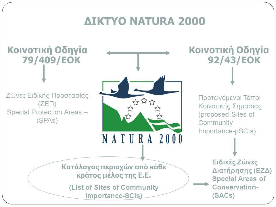 ΔΙΚΤΥΟ NΑTURA 2000 Κοινοτική Οδηγία 79/409/ΕΟΚ Κοινοτική Οδηγία 92/43/ΕΟΚ Κατάλογος περιοχών από κάθε κράτος μέλος της Ε.Ε.