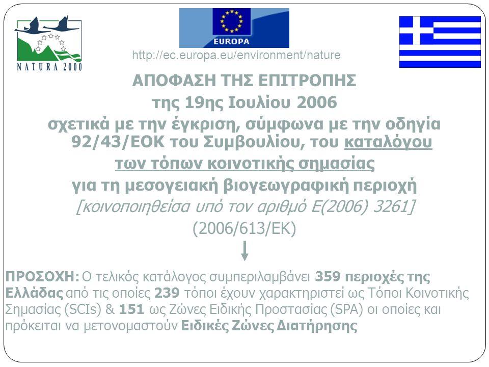 ΑΠΟΦΑΣΗ ΤΗΣ ΕΠΙΤΡΟΠΗΣ της 19ης Ιουλίου 2006 σχετικά με την έγκριση, σύμφωνα με την οδηγία 92/43/ΕΟΚ του Συμβουλίου, του καταλόγου των τόπων κοινοτικής σημασίας για τη μεσογειακή βιογεωγραφική περιοχή [κοινοποιηθείσα υπό τον αριθμό Ε(2006) 3261] (2006/613/ΕΚ) ΠΡΟΣΟΧΗ: Ο τελικός κατάλογος συμπεριλαμβάνει 359 περιοχές της Ελλάδας από τις οποίες 239 τόποι έχουν χαρακτηριστεί ως Τόποι Κοινοτικής Σημασίας (SCIs) & 151 ως Ζώνες Ειδικής Προστασίας (SPA) οι οποίες και πρόκειται να μετονομαστούν Ειδικές Ζώνες Διατήρησης http://ec.europa.eu/environment/nature