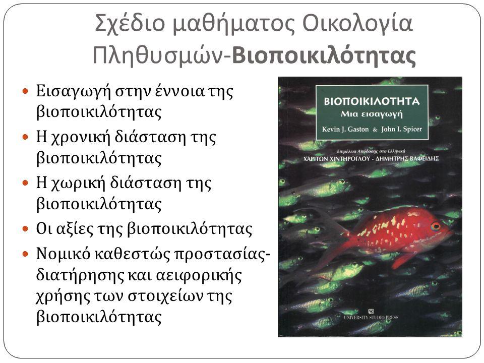Σχέδιο μαθήματος Οικολογία Πληθυσμών - Βιοποικιλότητας Εισαγωγή στην έννοια της βιοποικιλότητας Η χρονική διάσταση της βιοποικιλότητας Η χωρική διάσταση της βιοποικιλότητας Οι αξίες της βιοποικιλότητας Νομικό καθεστώς προστασίας - διατήρησης και αειφορικής χρήσης των στοιχείων της βιοποικιλότητας