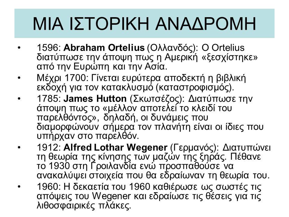 ΜΙΑ ΙΣΤΟΡΙΚΗ ΑΝΑΔΡΟΜΗ 1596: Abraham Ortelius (Ολλανδός): Ο Ortelius διατύπωσε την άποψη πως η Αμερική «ξεσχίστηκε» από την Ευρώπη και την Ασία. Μέχρι